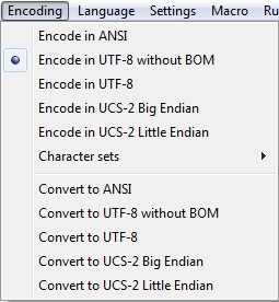 Notepad++ encoding menu